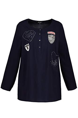 Ulla Popken Große Größen Damen Bluse Shirtbluse mit Knopfleiste und Patches, Blau (Dunkelblau 70), 48 (Herstellergröße: 46+)