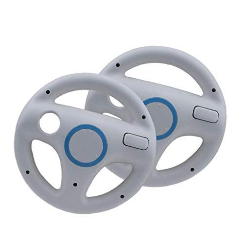 Racing Wheel-Rennen Gaming Chairs Lenkrad Wii Controller Spiel Rad Kompatibel mit Wii-Fernbedienung Spiel Weiß 2ST