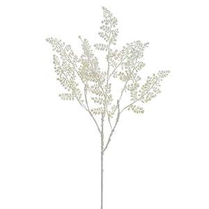 """Silk Flower Arrangements Arcadia Silk Plantation 33"""" Glittered Maidenhair Fern Spray White (Pack of 12)"""