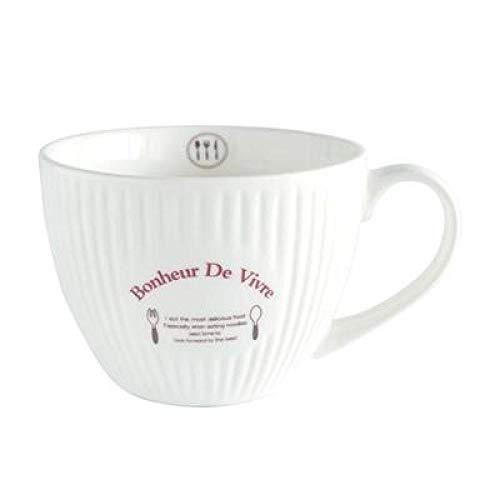 QQYG Taza de cerámica Retro Europea con Tapa Taza Grande de Leche de Avena para el Desayuno Vasos de Gran Capacidad para Copas de Sopa casera Tazas-Taza