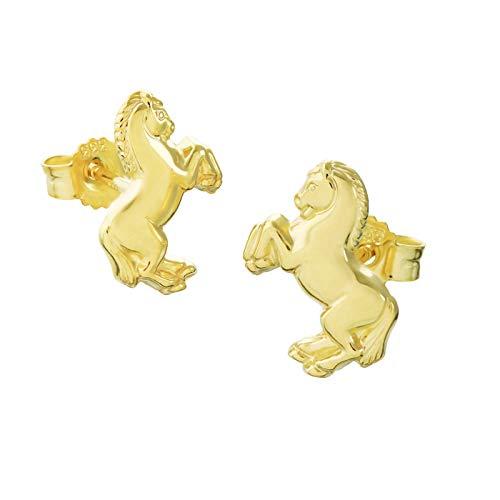 NKlaus Paar 333 8 Karat Gold gelbgold Pferd Kinder Ohrstecker Ohrringen Damen Mädchen 9052