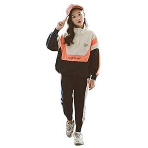 Ohimawari(おひまわり) 子供 ジャージ スウェット 上下 女の子 子供服 セットアップ ジュニア ガールズ スポーツウェア 上下セット 部屋着 ルームウェア 春 秋 オレンジ 160cm