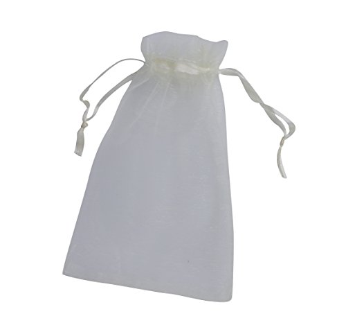 ONW Bolsas de Organza para Envolver Regalo Detalle de Boda Joyas Caramelo Dulces Bolsitas para Regalos ,Blanco 100 PCS 15x20 cm