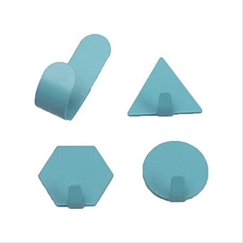 Gancho De Hierro Forjado De Forma Geométrica Color Gancho Adhesivo Azul [4 paquetes]