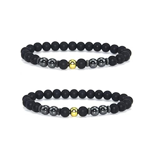 INENIMARTJ 2Pcs Anti-Swelling Black Obsidian Anklet Magnetic Therapy Ankle Bracelet for Women Men,Anti-Anxiety Yoga Beads Bracelet (E:gold beads)
