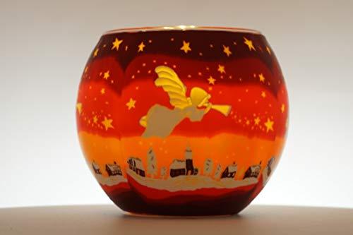 CBK-MS. Windlicht Teelicht Engel Leuchtglas Teelichthalter ca. Ø 11 cm Höhe 8,5 cm Angel Putte Weihnachten