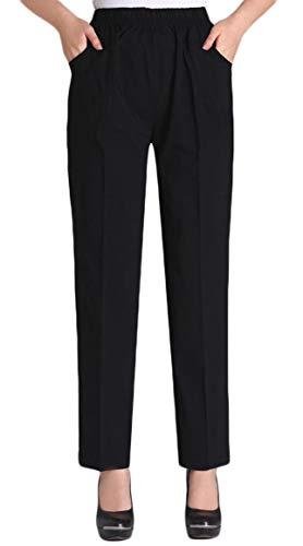 Soojun Womens Summer Elastic Waist Comfy Stretch Pull On Pants, Black, Large