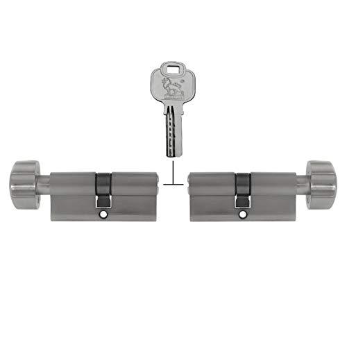 2x Türzylinder gleichschließend Knaufzylinder KD mit Knauf 70 mm 35/35 (mit Not- und Gefahrenfunktion) inkl. 10x Schlüssel