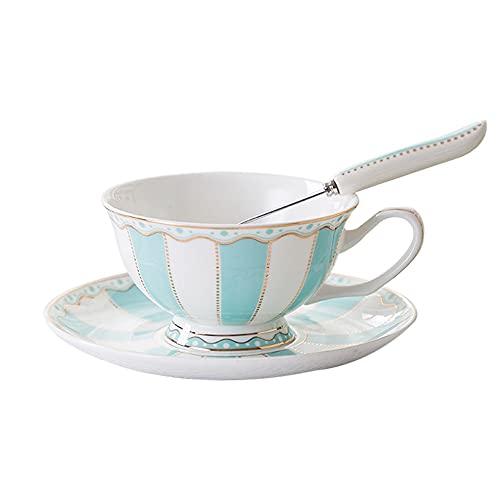 ZCCLCH Tazas de café de la china de los huesos, taza de decoración de rayas y conjunto de platillos, adornos con taza de café de oro taza de té, 7.03 oz estilo europeo tazas de agua tazas de leche, ad