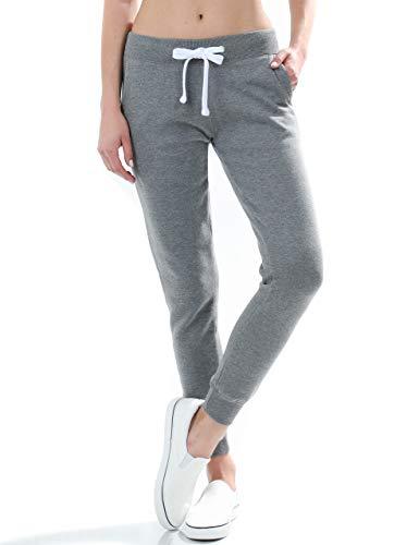 esstive Women's Ultra Soft Fleece Comfortable Basic Lightweight Casual Active Workout Solid Jogger Sweatpants, Heather Gray, Medium