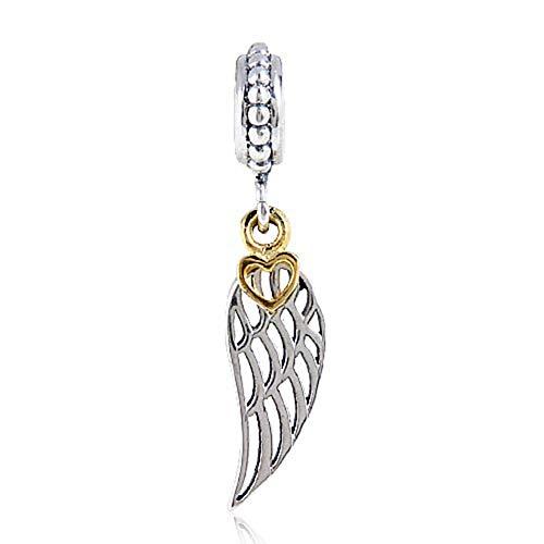 Engel-Charm 925 Sterling Silber Flügel Charm Feder Charm Liebe Herz Charm Jahrestag Charm für Pandora Charm-Armband silber