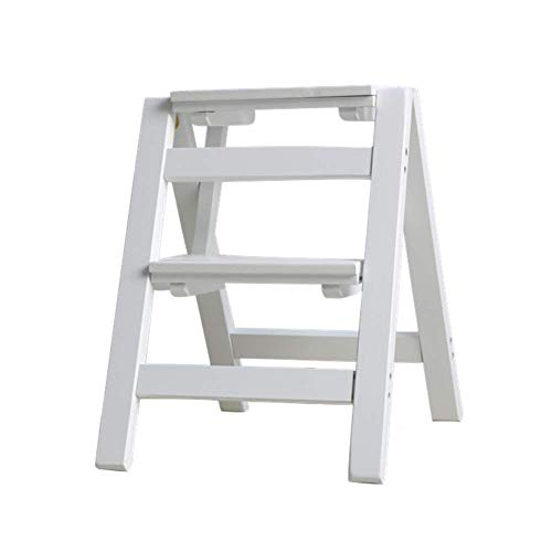 HY-WWK 2 Steps Folding Ladder Stool Multi-Function Dual-Use Step Stool Household Stair Chair Solid Wood Step Ladder Multiple Occasions,White