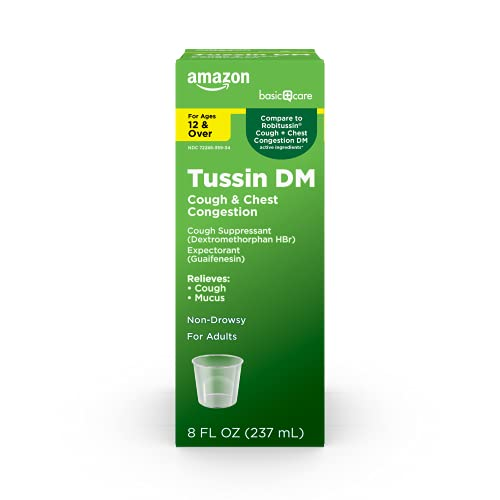 Amazon Basic Care Tussin Cough Syrup DM, Cough Suppressant and Expectorant, Wild Cherry Flavor, 8 Fluid Ounces