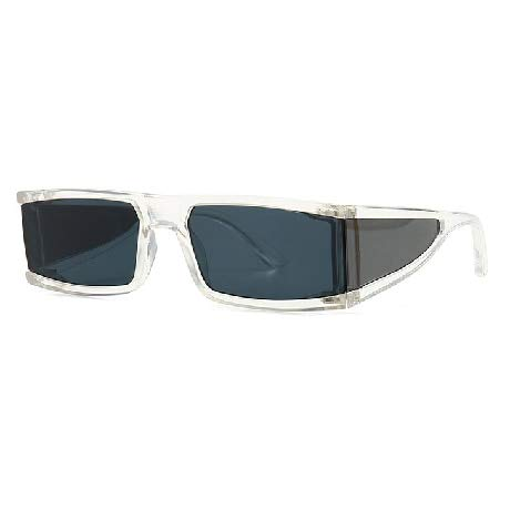 HAOMAO Gafas De Sol Pequeñas Rectangulares Mujer Espejo Plata Negro Lente Transparente Uv400 Transparente