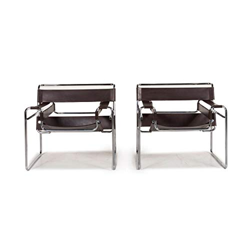 Knoll International Wassily Chair Leather Armchair Set Brown Dark Brown 2X Marcel Breuer Chair