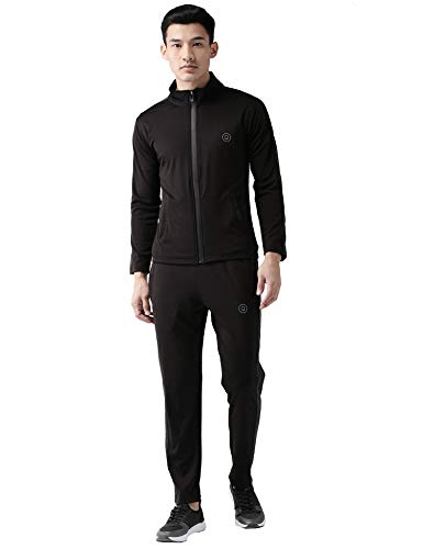 CHKOKKO Men Full Sleeve Zipper Sports Gym Track suit Black Dark grey size XL