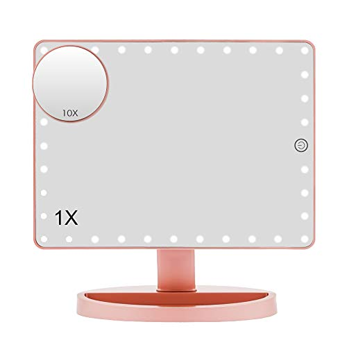 Lighted Makeup Mirror (Large Model), COSMIRROR Large Makeup Vanity Mirror with 35 LED Lights and 10X Magnifying Mirror, Touch Sensor, Dual Power Supply, 360° Rotation Light Up Mirror (Rose Gold)