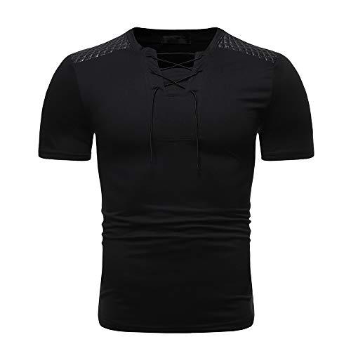 Deportiva Camisa Hombre Verano Moda Cuello Redondo Slim Fit Hombre Compresión Shirt Empalme Funcional Shirt Cremallera Correr Shirt Casual Wicking Transpirable Shirt J-Black3 L