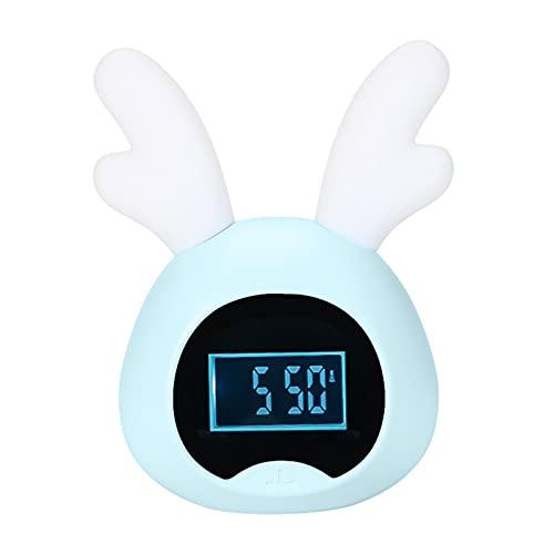 Feixing Reloj despertador para niños lindo conejo/ciervo digital despertador con luz nocturna USB recargable