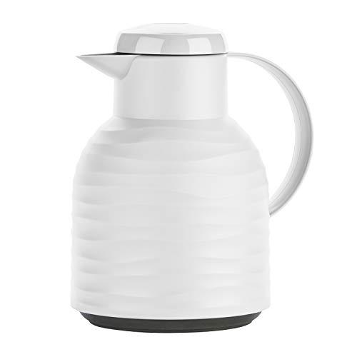 Emsa N40115 Samba Wave Isolierkanne | 1,0 Liter | Quick-Press Kunststoff | Glas-Isolierkolben | Kaffeekanne: 12h heiß/24h kalt | made in Germany | 100 % dicht | weiß