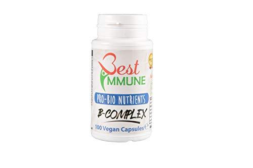Natuurlijk Vitamine B-complex Ideale sterkte 100 Veganistische capsules Hoogste biologische beschikbaarheid