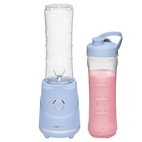 Clatronic SM 3694 Smoothie-Maker zum Pürieren, Schlagen, Zerkleinern, Shaken und Mixen, 4-Fach Edelstahlmesser, Mixbehälter auch als Trinkbecher zu verwenden, blau