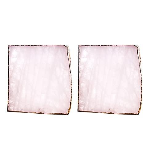 YWSZY Posavasos, 2pcs Rebanada de la ágata ágata Rosada Coaster la Taza de té Bandeja Decorativa Stone Design Coaster Oro Bordes Decoración de la Piedra Preciosa Natural Coaster (Color : Pink)