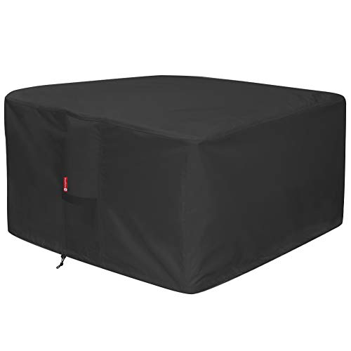 SHEECHUNG LARGE 43 SQUARE FIRE PIT COVER - 방수 600D HEAVY DUTY SQUARE PATIO FIRE PIT TABLE COVER BLACK (SQUARE - 44 L X 44 W X 24 H)
