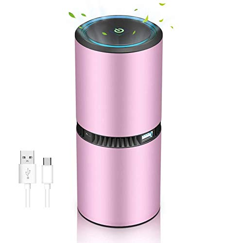 Nrpfell Portable Mobile Ionizer Air Purifier for Car or Home, Negative Ion Generator for Air Purification, Filter-Less,Rose Gold