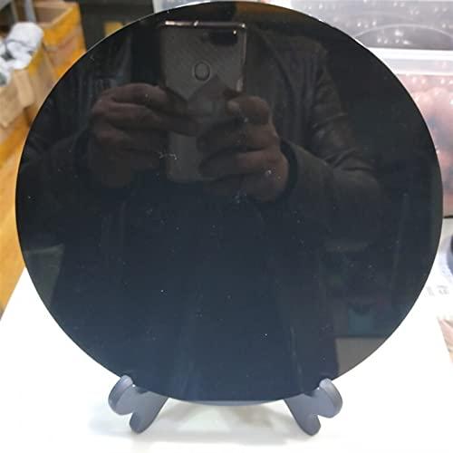 CAIZHI Hermosas Decoraciones Enorme 20cm Natural Natural Obsidian Plate Fengshui Espeso Espejo círculo Disco Reiki curación Piedras de Cristal con Estante Libre