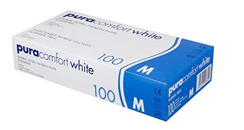 Pura Comfort White, Einmal-Nitrilhandschuhe, Weiss, puderfrei, 100 Stück, Größe M
