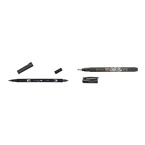 Tombow Dual Brush-N25 Rotulador doble punta pincel negro + WS-BS Fudenosuke Pluma escobilla, punta blanda, tinta negra