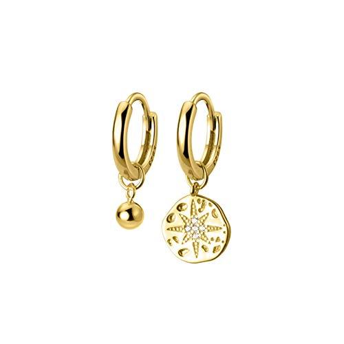 DFDLNL Pendientes para MujerPendientes de aro asimétricos Circulares para Mujer Pendientes de Estrella de Color Dorado Regalos de Fiesta goldcirclebead