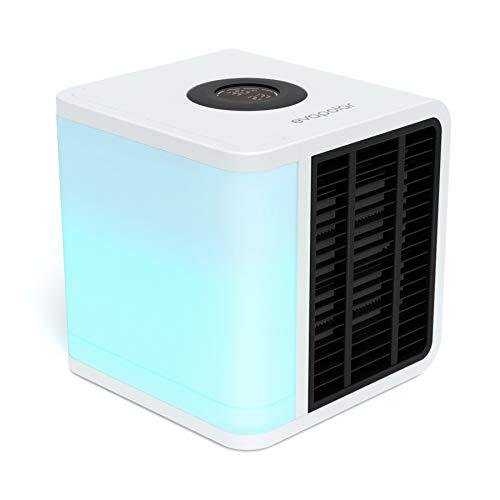 Evapolar evaLIGHT Plus Luftkühler & Luftbefeuchter - Tragbarer Kühl-Ventilator mit Vollspektrum-LED-Hintergrundbeleuchtung - Flüsterleise, einfach zu bedienen, stilvoll, effizient – Weiß