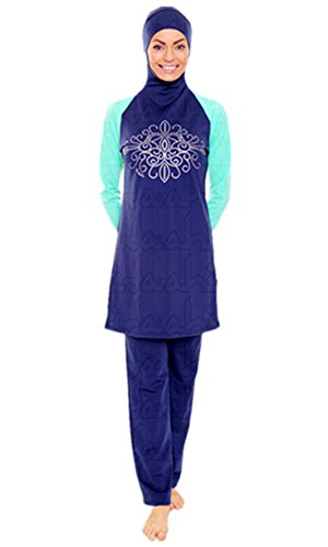Muslimischen Damen Badeanzug Muslim Islamischen Full Cover Bescheidene Badebekleidung Modest Muslim Swimwear Beachwear Burkini (Asien L ~ EU-Größe 38-40, Hijab Connected-6)
