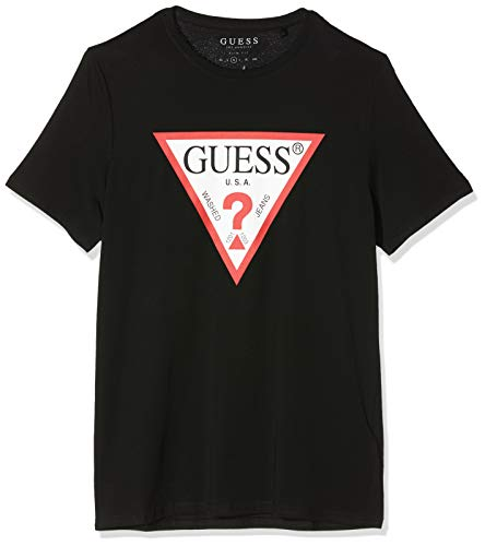 Guess Herren Cn Ss Original Logo Core Tee T-Shirt, Schwarz (Jet Black A996 Jblk), Medium