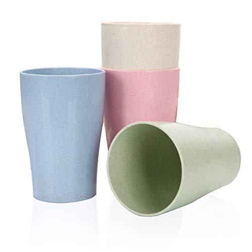 Goter 4 Piezas Taza de Paja de Trigo Reutilizable irrompible, Taza de Bebida Saludable ecológica para Leche, Jugo, Agua, Tazas Cepillo de Dientes para niños Adultos (4 Piezas)
