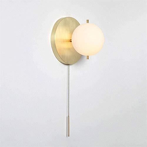 Aplique de pared industrial LED, Vintage Muro de pared Montado en el cableado de la pared de la pared 7.9 'Vidrio de globo blanco en la lámpara de pared de latón satinada con interruptor de tirón ilum
