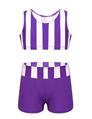 moily Big Girls 2-Piece Ballet Dance Gymnastics Sports Outfit Striped Crop Top with Booty Shorts Swimsuit Purple 10