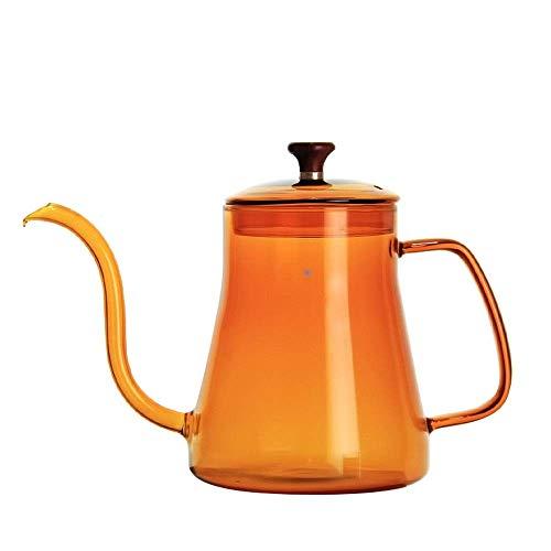 Het gieten van de koffie theepot Koffie Ketel Giet over Drip Coffee Pot zwanenhals Tuit Koffiezetapparaat Koffie Drip Kettle Hoge Borosilicate hittebestendige 600ml zwanenhals Coffee Pot Thin Mouth co