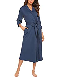 in budget affordable MAXMODA Ladies Dressing Gown, Shawl Color Wrap Around 3/4 Sleeve Sleeping Gown, Belt Cotton …