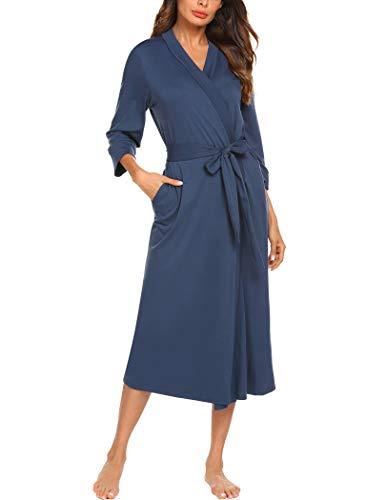 MAXMODA Women Soft Summer Robes Long Knit Bathrobe Soft Knit Sleepwear V-Neck Casual Ladies Loungewear (Navy Blue,L)