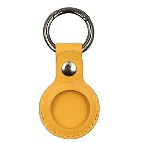 Funda protectora de piel para Apple Airtags, con Bluetooth, localizador de mascotas, buscador de teléfono, Apple resistente a los arañazos, llavero (amarillo)