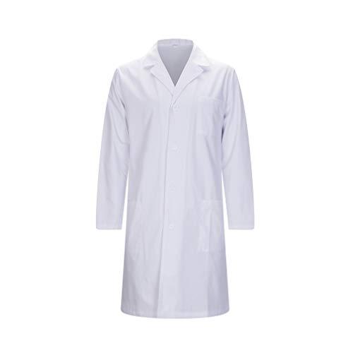 MISEMIYA - Bata Laboratorios Caballero Cuello Solapa con Manga Larga Uniforme Laboral CLINICA Hospital Limpieza Ref:816 - L, Batas Laboratorios 816-2 Blanco