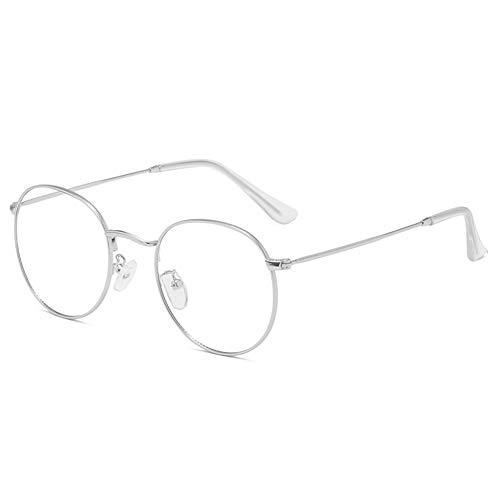 Yiyu Blaulicht-Schutzbrille, Leichter UV-Schutz Strahlungsresistente Flache Schutzbrille, Anti-Augen-Ermüdung 0 Grad Transparente Gläser Für Computer/Mobile Read/Games x (Color : Silver)