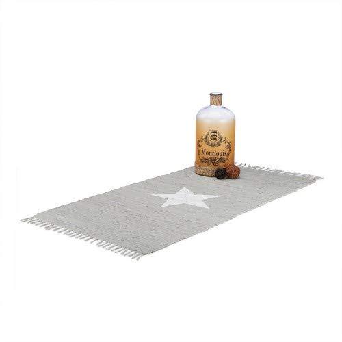 Relaxdays Flickenteppich 70 x 140 cm mit Sternmotiv aus 100% Baumwolle, Fransen, Fleckerlteppich, grau