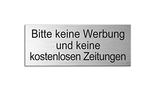 Briefkastenschild - Bitte Keine Werbung und Keine kostenlosen Zeitungen - | Material Aluminium glashart eloxiert | Edelstahlschilder-Optik | 66 x 25 mm | Ofform Design | Nr.28998-S