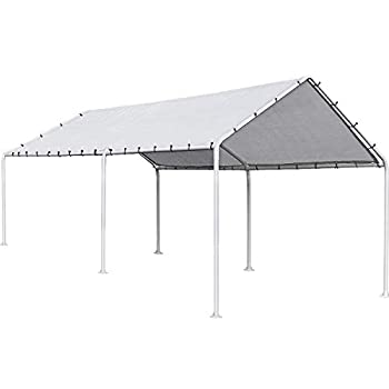 FDW Carport Car Port Party Tent Car Tent 10x20 Canopy Tent Metal Carport Kits Outdoor Garden Gazebo Not Good for Strong Wind Condition