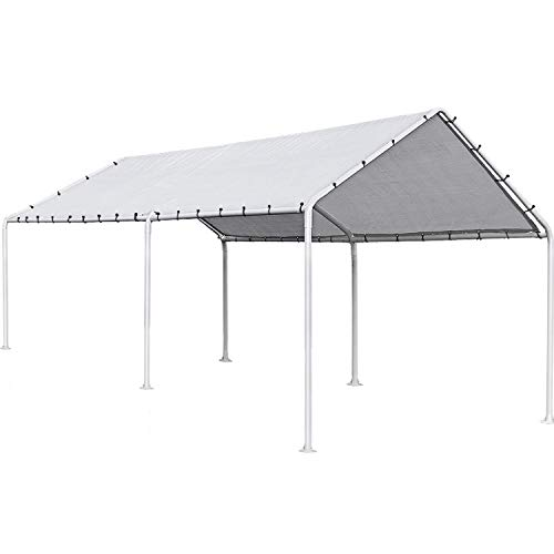 FDW Carport Car Port Party Tent Car Tent 10x20 Canopy Tent Metal Carport Kits Outdoor Garden Gazebo, Not Good for Strong Wind Condition
