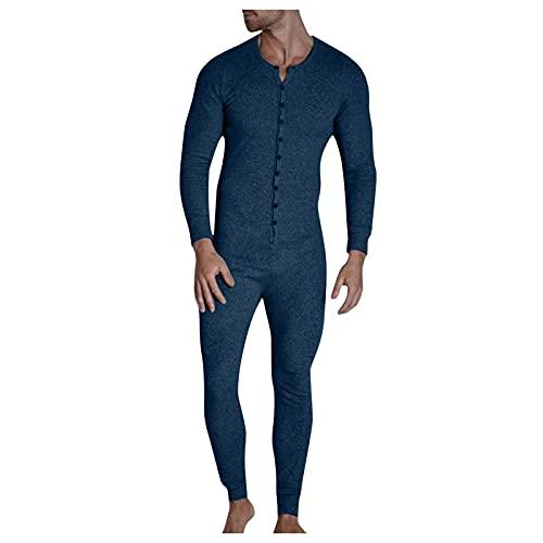 Briskorry Herren Casual Knopf Open Jumpsuit Pyjamas Homewear Herren Einfarbiger Pyjama Jumpsuit Herbst- Und Winterpyjamas Mit Klettverschluss An Der HüFte Lange ÄRmel StüCk Pyjama